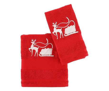 Sled with Reindeer Red 2 db Fürdőszobai törölköző