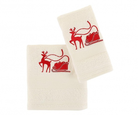 Set 2 prosoape de baie Sled with Reindeer White