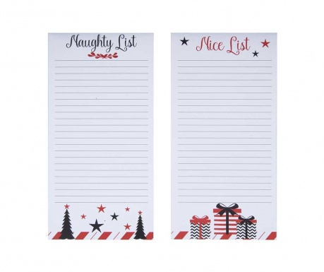 Set 2 blokcev z memo listki Naughty and Nice List