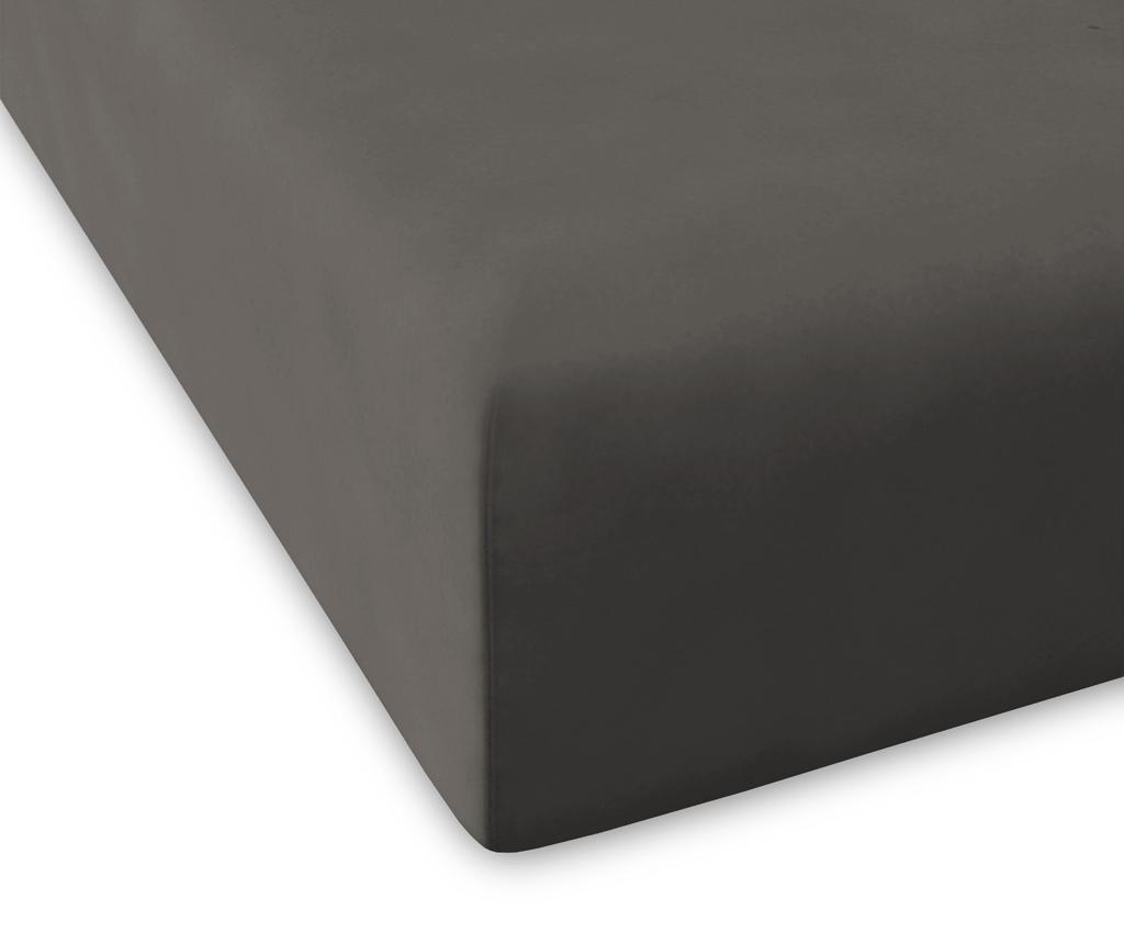 Rjuha z elastiko Percale Pure Dark Grey 160x200 cm
