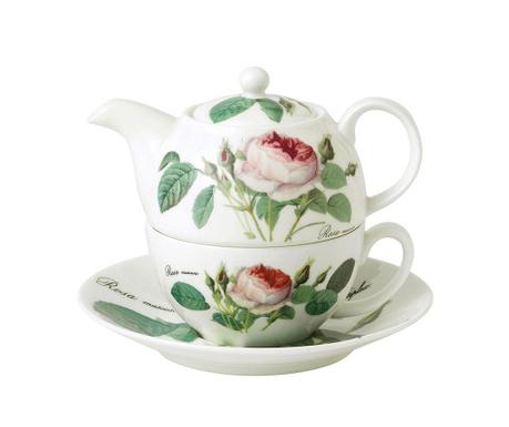 Rosa Teáskanna, csésze és kistányér