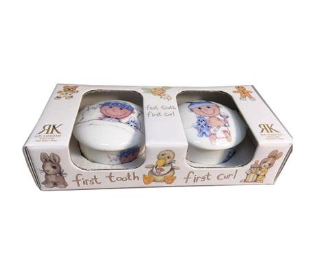 Set 2 cutii cu capac pentru amintiri bebe Trinket Box Boy
