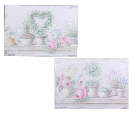 Zestaw 2 obrazów Pewter 36x51 cm