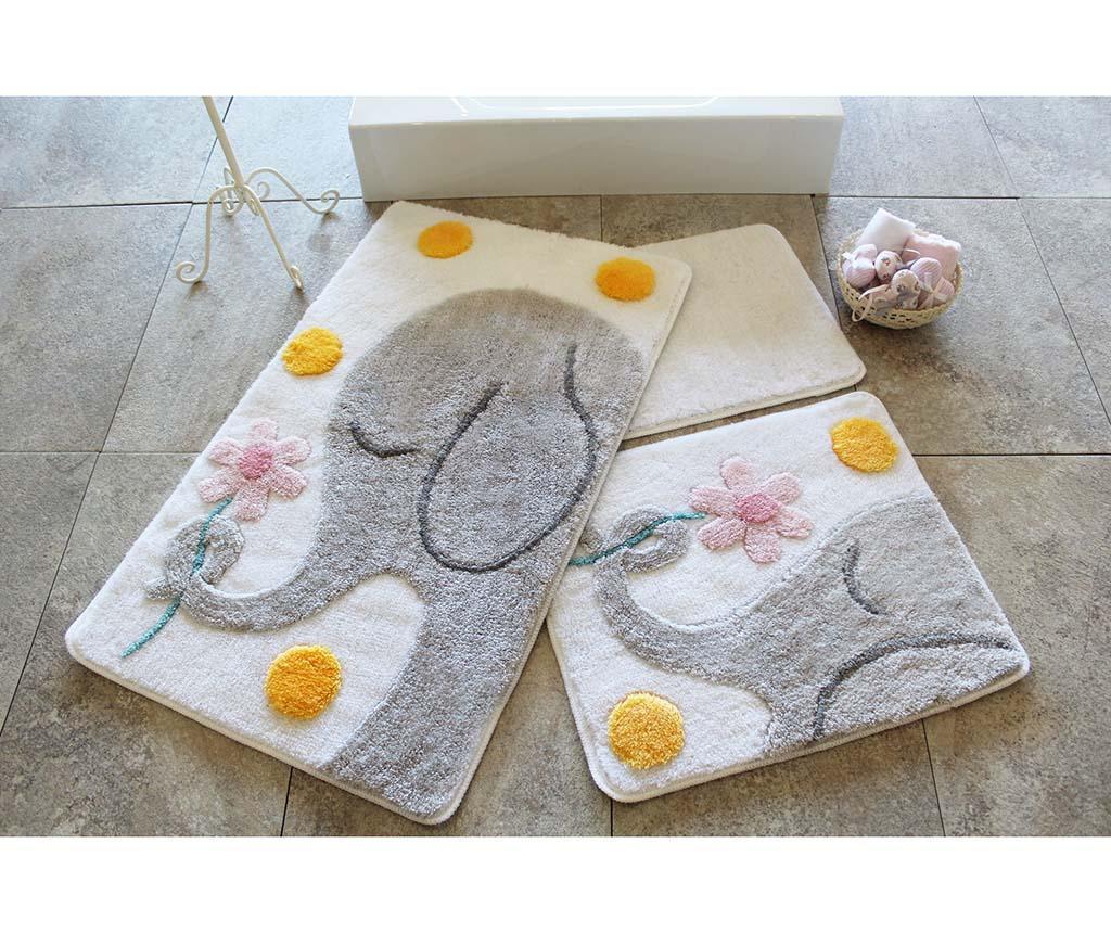 Buyuk Grey 3 db Fürdőszobai szőnyeg