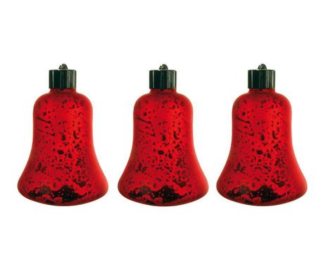 Set 3 svjetleće ukrasne kuglice Elenora Red
