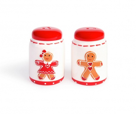 Set posuda za sol i posuda za papar Gingerbread Boy and Girl