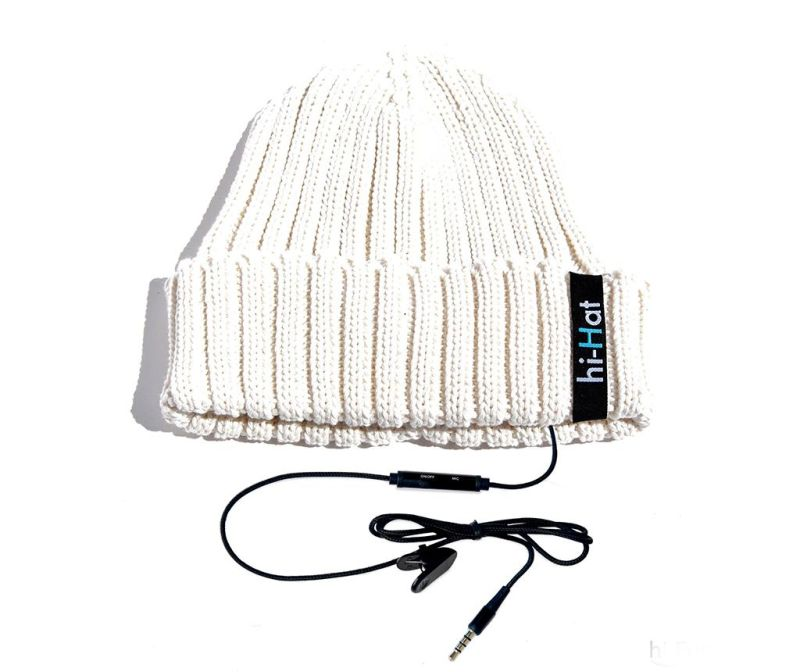 Čepice s integrovanými sluchátky hi-Hat White