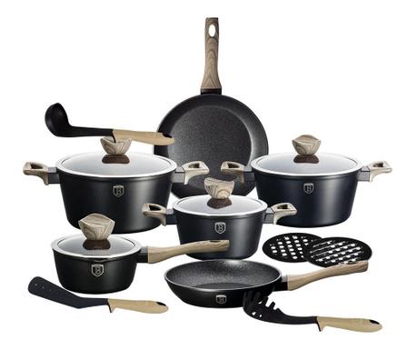 Zestaw naczyń do gotowania 15 części Royal Black