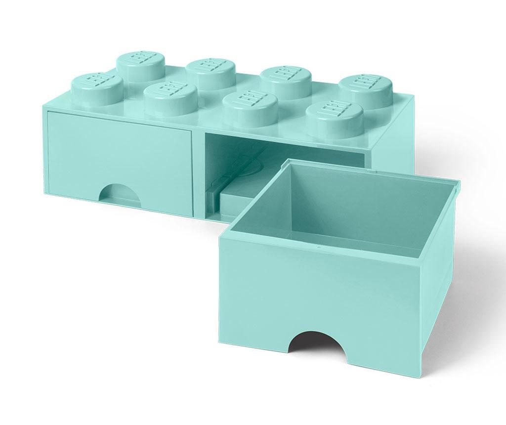 Lego Square Duo Turquoise Tárolódoboz