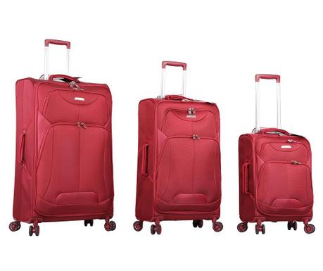 Zestaw 3 walizek na kółkach Kesington Red