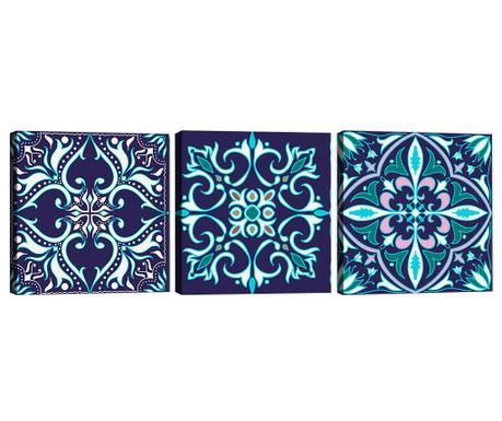 Sada 3 obrazů Mandala Blue 30x30 cm
