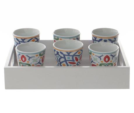 Сервиз 6 чашки и поднос за сервиране Marocco