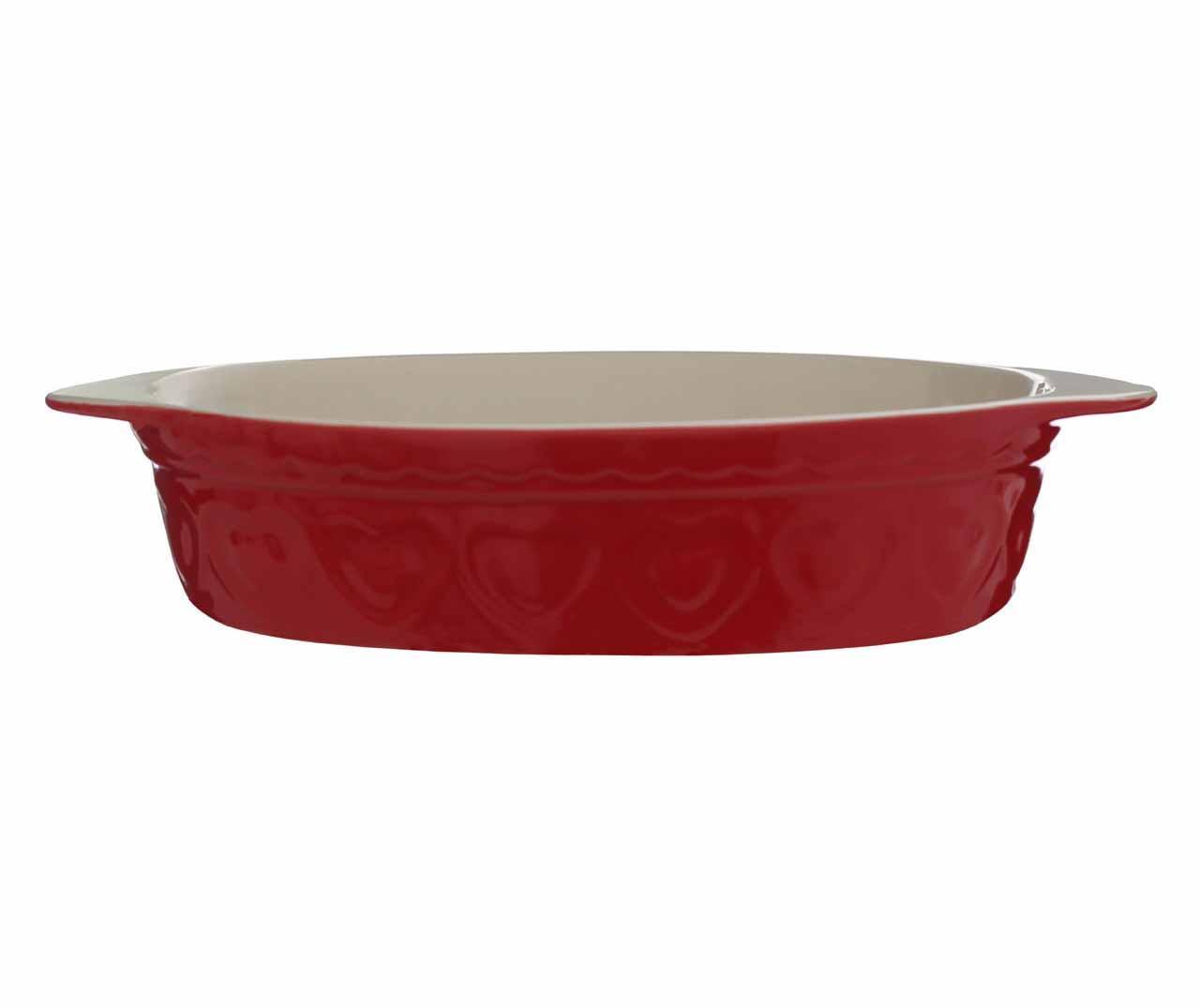 Pastel Hearts Oval Red Sütőedény 1.4 L