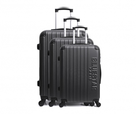 Bucharest Black 3 db Gurulós bőrönd