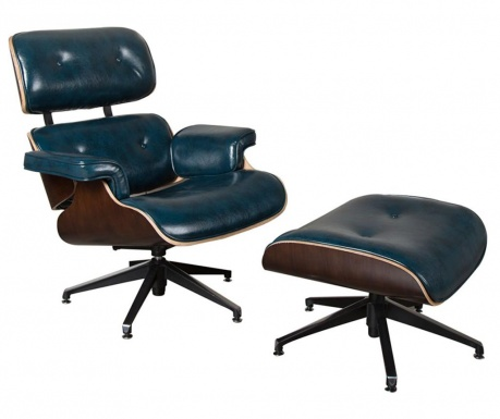 Set scaun de birou si taburet pentru picioare Caesar Blue
