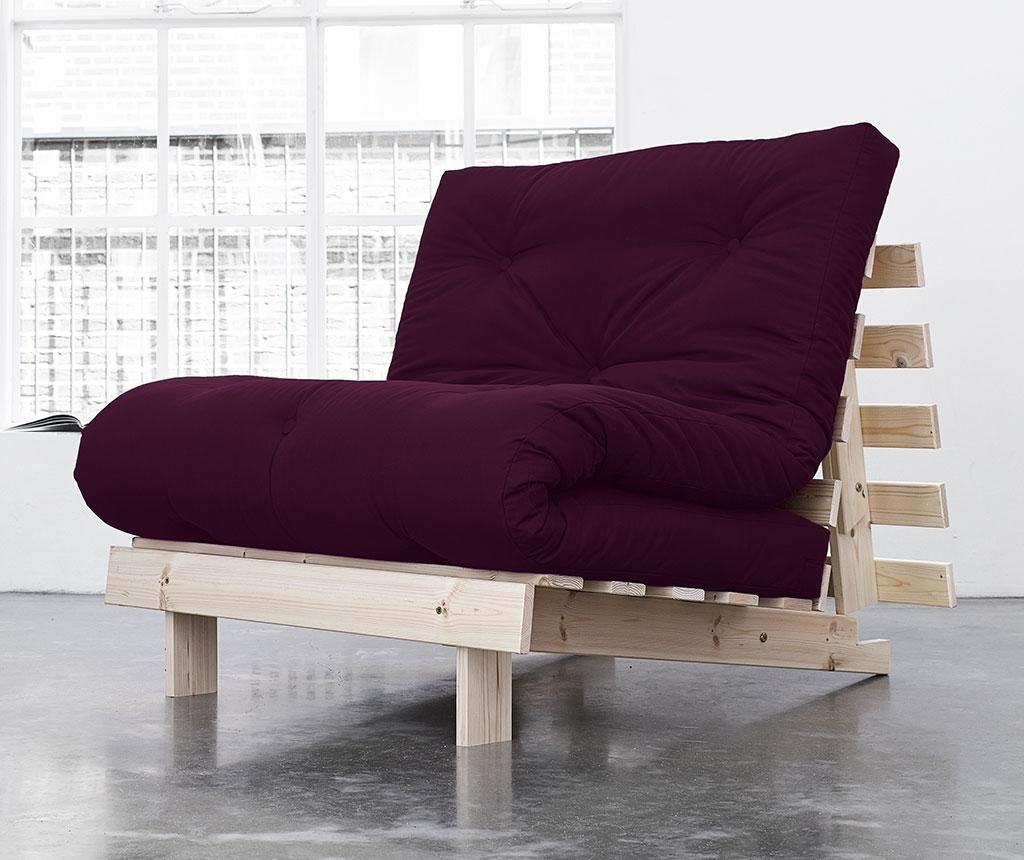 Sofa extensibila Roots Natural and Purple Plum 90x200 cm
