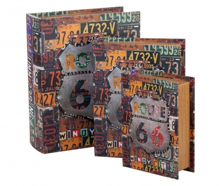 Sada 3 krabic ve tvaru knihy Route 66
