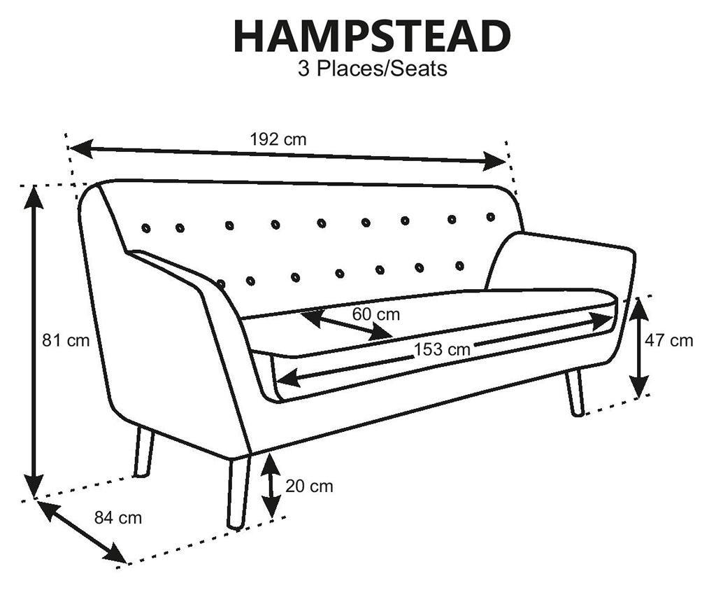 Kauč trosjed Hampstead Poly Fuchsia
