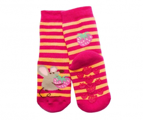 Чорапи с нехлъзгаща се подметка Mouse Fuchsia