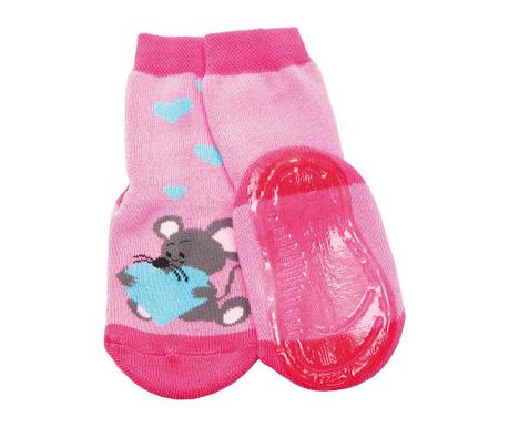 Чорапи с нехлъзгаща се подметка Love Mouse Pink