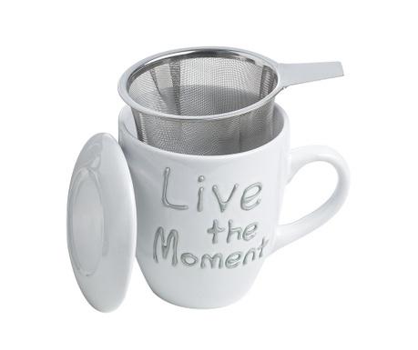 Live the Moment White Bögre fedővel és szűrővel 350 ml