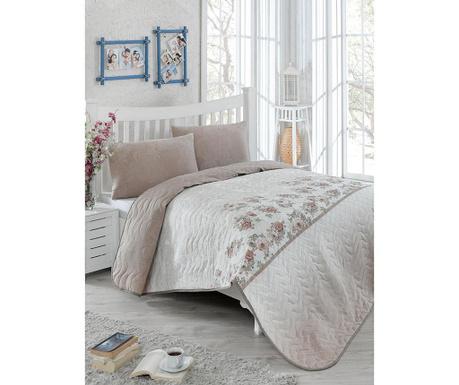 Set s prešitim posteljnim pregrinjalom Single Lustro Brown