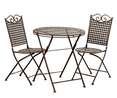 Set masa si 2 scaune pliabile pentru exterior Mina