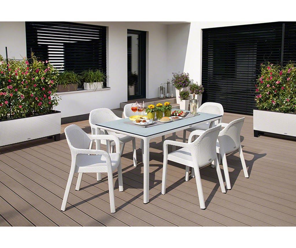 Masa pentru exterior Raffia Long White