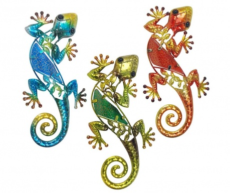 Sada 3 nástenných dekorácií Lizard Ayana