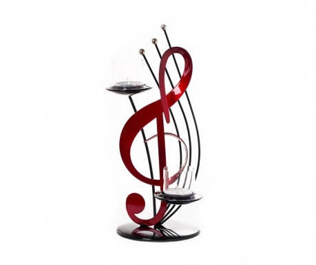 Svečnik Satellite Treble Clef Black Red