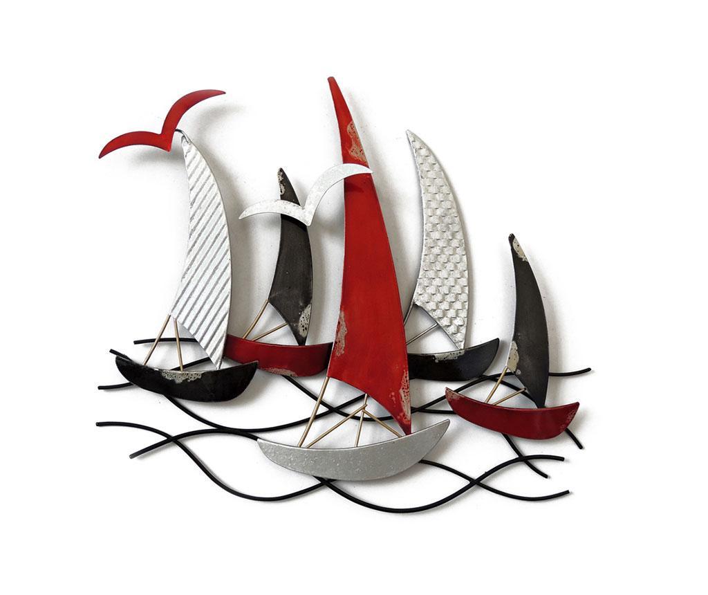 Zidni ukras Beaux Arts Racing Boats Black Silver Red
