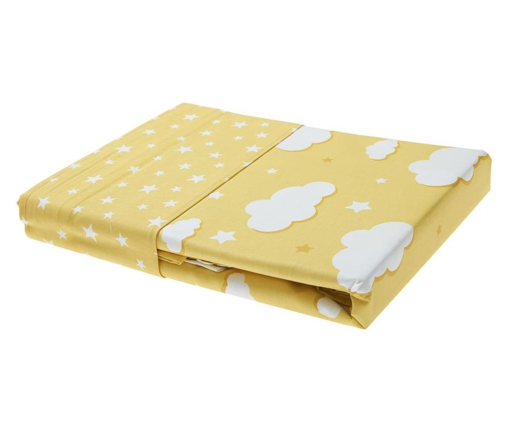 Set 2 draperii si 1 draperie transversala Clouds Yellow