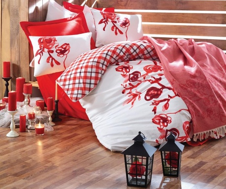 Комплект спално бельо и одеяло King Ranforce Scarlet Red White
