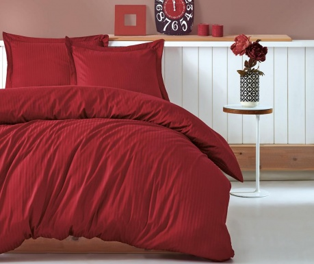 Спално бельо King Satin Stripe Claret Red