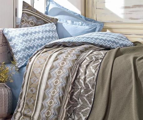 Комплект спално бельо и ватирана кувертюра King Ranforce Joy Blue