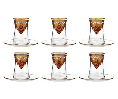 Σετ 6 ποτήρια και 6 πιατάκια Ottoman Red