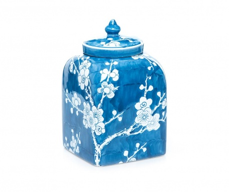 Dekorační nádoba s víkem Cherry Blue