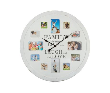 Ceas de perete cu 12 fotografii Family