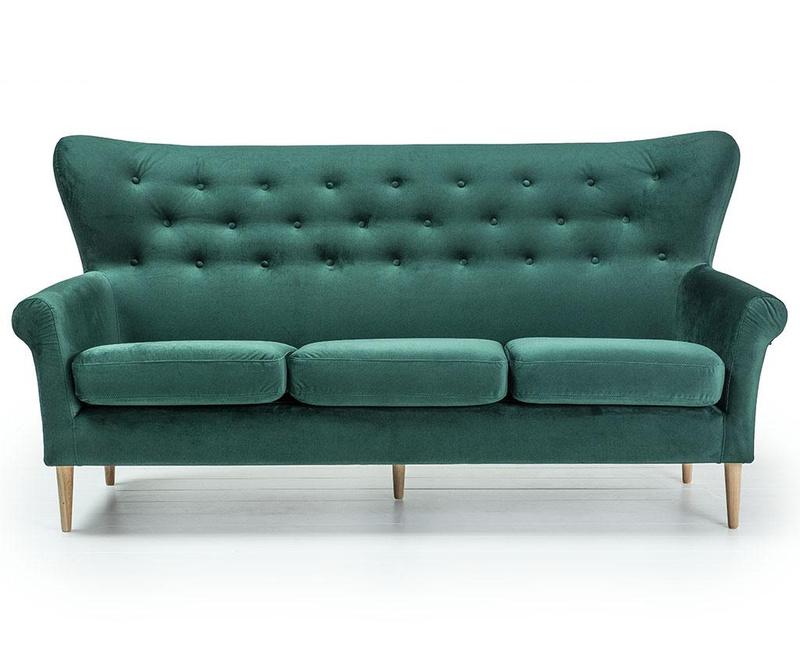 Amelie Dark Green Háromszemélyes kanapé