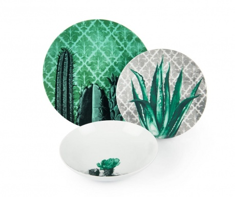 Osiemnastoczęściowa zastawa stołowa Barrio de Cactus