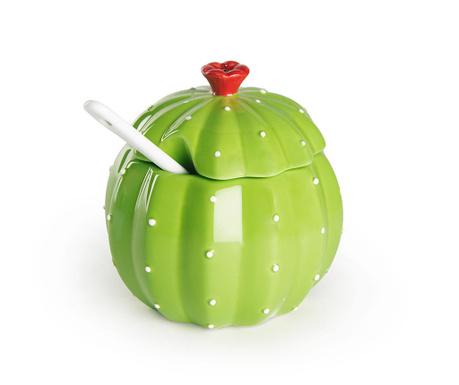 Posuda za šećer s poklopcem i žličica Cactus