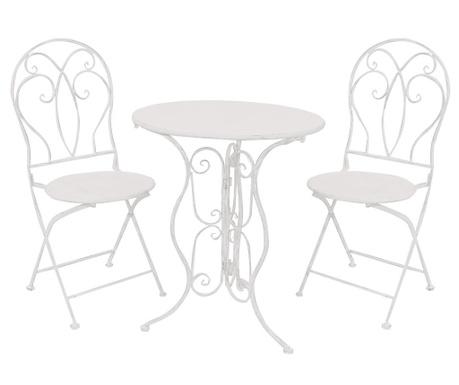 Комплект маса и 2 сгъваеми стола Olivia White