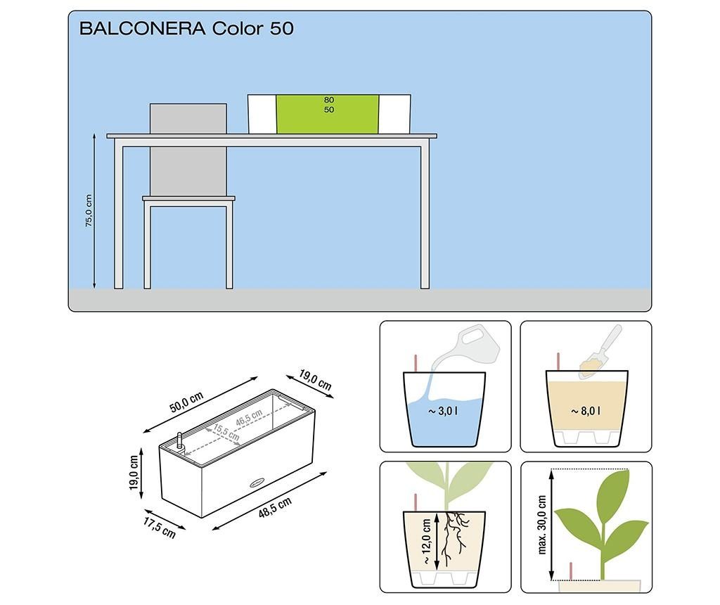 Set jardiniera cu sistem de autoirigare si suport Balconera Soft Nutmeg