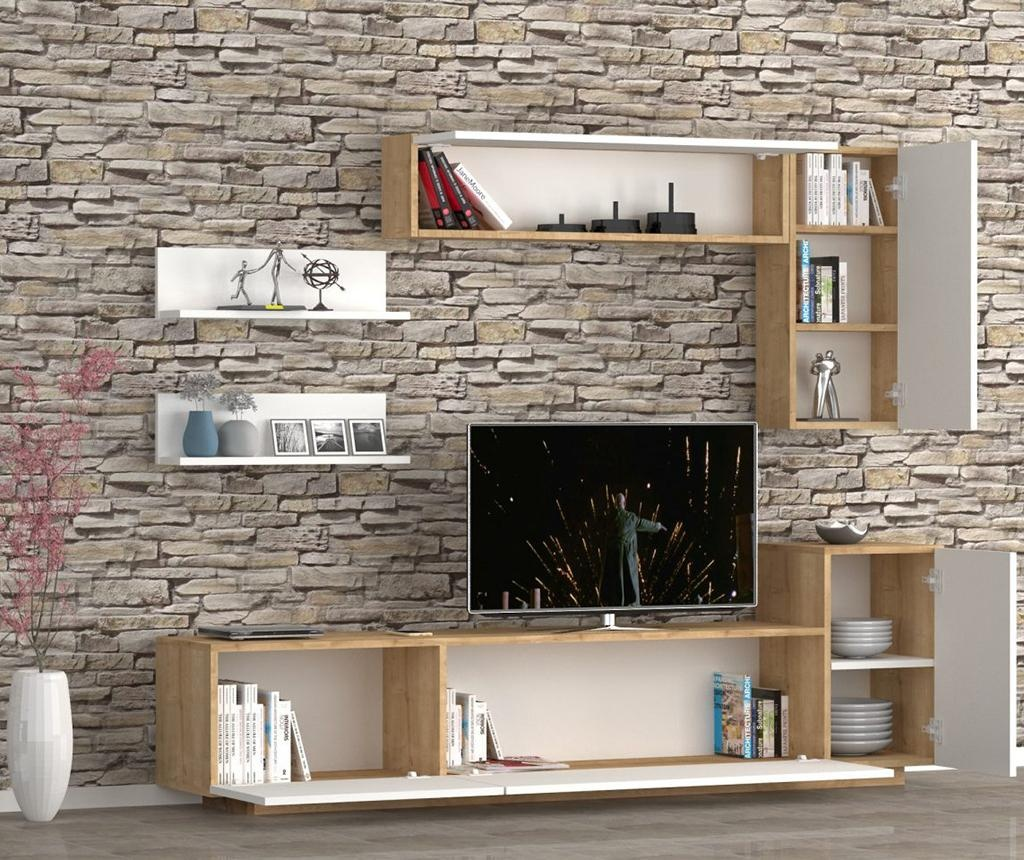 Set TV omarica, 2 viseča elementa in 2 stenski polici Kale