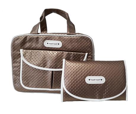 Set geanta si saltea pliabila pentru schimbat scutece Dots Brown