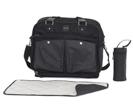 Set geanta, saltea pliabila pentru schimbat scutece si suport pentru sticla Life Black