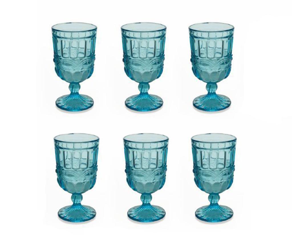 Set 6 čaša s nogom Chic Blue 275 ml