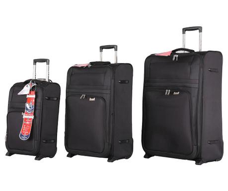 Zestaw 3 walizek na kółkach York Black