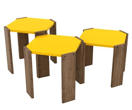 Set 3 mizic Rafevi Hansel Walnut Yellow