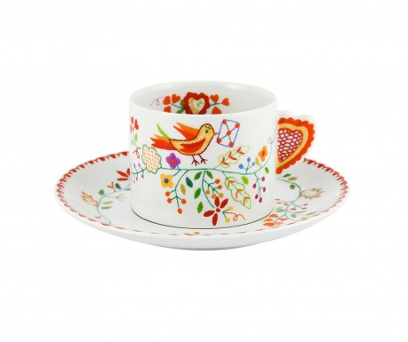 Sada šálek s podšálkem na čaj Vila Colorful Birdy